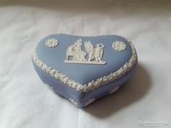 Wedgwood kék szív alakú  ékszeres doboz