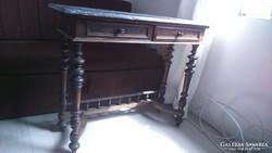Szép antik ónémet márványlapos konzolasztal fiókos asztal