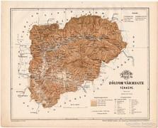 Zólyom vármegye térkép 1899, Magyarország atlasz (a), megye