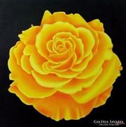 IRMA ENDREY: Yellow rose; ENDREY IRMA: Virág festmény