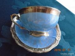 Ezüstvirágos királykék-teás csésze+alja-Waldershof