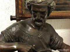 Sürgősen eladó! 19.sz. Platinás-bronz francia kandalló óra