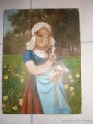 Lányka kiskutyával tájban, régi olaj-fa, jelzés nélkül
