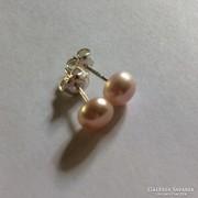 Rózsaszín édesvizi gyöngy fülbevaló ezüst alapon