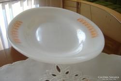 Szép narancsmintás tejüveg jénai, hőálló tál.