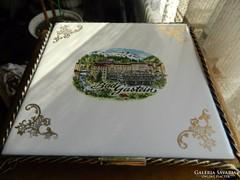 Vas keretben csempekép spanyol edényalátét tartó Bad Gastein