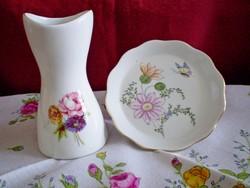 Aquincumi virág csokros porcelán váza 9 cm és tálka