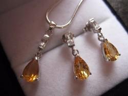 Vidám, sárga citrin ezüst ékszerszett: fülbevaló medál lánc