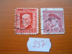 CSEHSZLOVÁK 1+1 KORONA 1927,1939 MASARYK P237