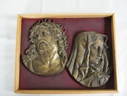 Jézus és Szűz Mária réz vagy bronz fali dísz