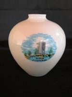 Hollóházi porcelán váza Siófok