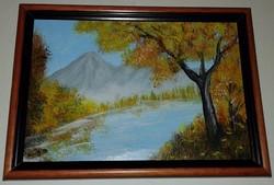 Ősz, akrillal festett kép keretben