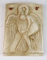 0M870 Léda hattyúval kerámia falikép 15 cm