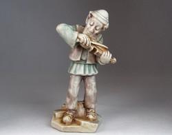 0M872 Hegedülő férfi kerámia figura 23.5 cm