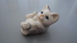 Tündéri, miniatűr porcelán cica, cicus, macska
