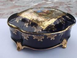 Ilmenau kobalt-arany bonbonier pásztorjelenet antik db