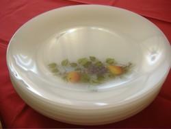 Gyümölcs mintás tejüveg jénai arcopal tányérok Hőálló