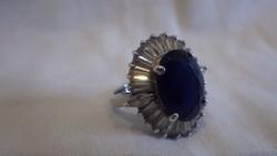 Női ezüst gyűrű kék kővel 925-ös
