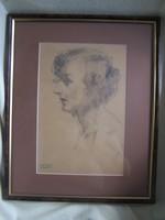 Gyenes Gitta (1888 - 1960) Hölgy profilból