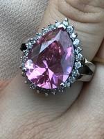 Káprázatos Rozsaszin Köves ezüst gyűrű 18mm