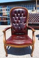 Gyönyörű chesterfield barokk karfás bőr fotel!