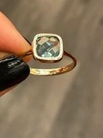 Káprázatos 14K arany gyűrű kék Topáz drágakővel! 18mm átmérő