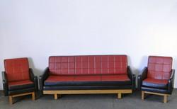 0E681 Retro piros-fekete design ülőgarnitúra