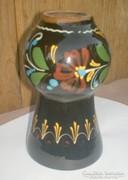 Vásárhelyi mázas, festett virágos váza, 16 cm