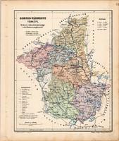 Borsod vármegye térkép 1905, eredeti, antik, régi, magyar atlasz, megye, Kogutowicz Manó, Miskolc