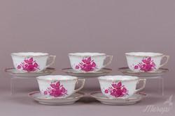 5 db Herendi Apponyi purpur mintás nagy teáscsésze aljjal