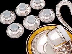 Olasz 6 személyes 800-as ezüst kávéscsésze készlet
