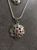 Régi ezüst Navaratna nyaklánc rubinnal, smaragdal, zafírral, korallal , igazgyönggyel, citrinnel
