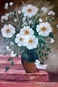 Olajfestmény,70 x 50 , Szellő rózsa,csendélet,olaj vászon