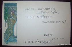 Mucha Gismonda  1899 eredeti szecessziós litho képeslap Eugenie Munk