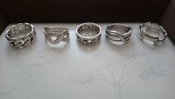 5 db kisméretű, jelzett ezüst gyűrű, össz. 24 gramm!