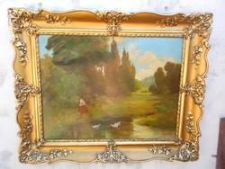 """Tolnay Ákos""""Kislány a vízparton""""Antik festmény szép kerettel.."""