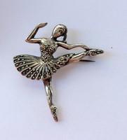 Ezüst balerina bross markazitokkal antik