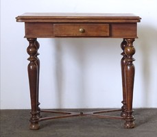 0N573 Antik fiókos kinyitható asztal játékasztal