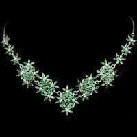Valodi Termeszetes Attetszo Smaragd  925 Ezust Nyaklanc Nyakek