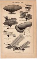 Léghajózás, egy színű nyomat 1896, léghajó, repülés, repülő, eredeti, régi
