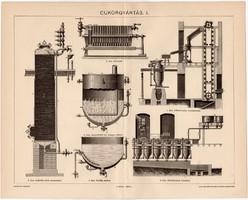 Cukorgyártás I., egy színű nyomat 1895, eredeti, antik, régi, cukor, édesség, gyártás
