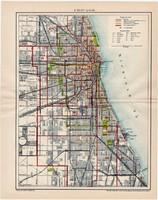 Chicago város térkép 1895, színes nyomat, régi, antik, eredeti, Amerika, USA