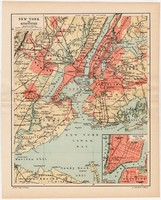 New York és környéke térkép 1894, Pallas, antik, eredeti, Amerika, USA, város