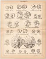 Antik érmek I., egy színű nyomat 1896, eredeti, antik, régi, görög, makedón, római, sékel, perzsa