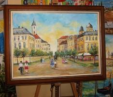 Eső után...városkép annó  -  valódi  festmény 70x50 cm