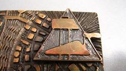 Bronz plakett, különleges, két rétegű, 1970