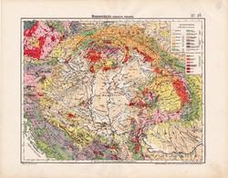 Magyarország geológiai térkép 1906, magyar atlasz térképe, eredeti, Pálfy Mór, geológia, antik, régi