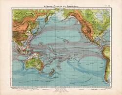 A Nagy óceán térkép 1906, Csendes - óceán, Ausztrália, Polinézia, magyar atlasz, áramlat, eredeti