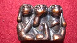 Három bölcs majom, nem lát, nem hall, nem beszél, tömör bronz figura