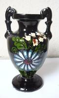 Nagyon régi ritka korondi mázas füles váza, 16cm  jelzett  ca 1920